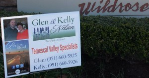 Local Realtors and Wildrose Ranch residents Glen and Kelly Nelson have included the Temescal Valley identity in their marketing materials.