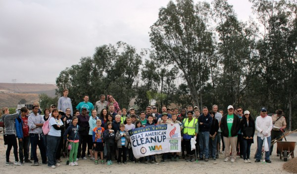 Sixty-plus volunteers gather for a group photo at the start of the 7th Annual Temescal Valley Great American Cleanup.