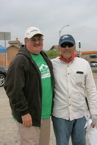 Showing up to lend a hand were Supervisor Kevin Jeffries and Al Lopez, Western Municipal Water District board member.