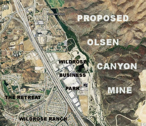 The 422-acre Olsen Canyon Project is on the east side of the I-15 and stretches from the Dos Lagos Golf Course on the north to the El Sobrante Landfill on the south. If approved, mining operations could begin in 2017.