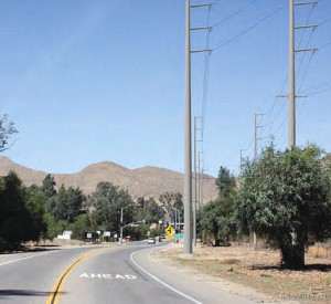A simulated view of the transmission lines looking north on Lake Street near Temescal Canyon Road.