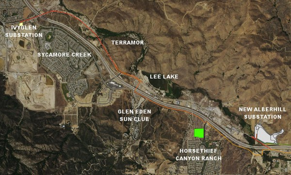 The orange line depicts the path of the Valley-IvyGlen transmission lines. The lines will run above ground and cross the freeway north of Glen Eden, continue north to about Indian Truck Trail where they will be placed underground. The proposed 34-acre Alberhill substation is pictured on the right.