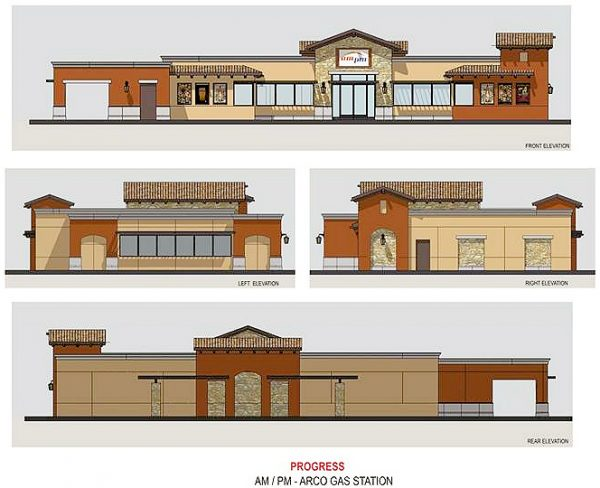 SERVICE STATION/CONVENIENCE STORE: An artist's rendering of the ARCO ampm proposed for construction at the northwest corner of Indian Truck Trail and Temescal Canyon Road.